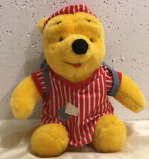 Vintage Winnie The Pooh Plush, Wearing Fillable Backpack, In Night Cap, EUC