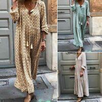 ZANZEA Women V Neck Summer Holiday Floral Print Long Maxi Dress Shirt Dress Plus