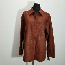 Relativity Womens Blouse Top 1X Brown Button Up Damask Moleskin Faux Suede Fall