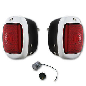 40-53 Chevy GMC Truck LED Sequential Tail Light Lens Black Assembly & Flashe Pr