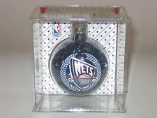 New Jersey Nets Color Filled Hanging Glass Christmas Ornament