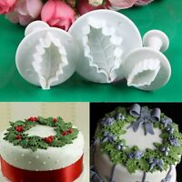 DIY Holly leaf Cookie Plunger Cutter Fondant Sugarcraft Mold Cake Decorate Tool