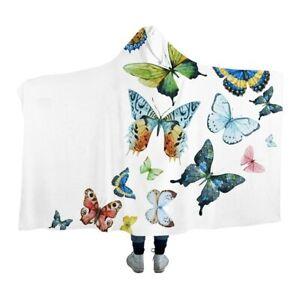 Flying Butterfly Hood White Kids Adults Sherpa Fleece Fur Hooded Blanket Throw