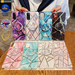 Splicing Marble Pattern TPU Protective Case with Foldable Holder For Galaxy