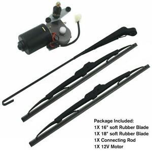 "12V Electric UTV Windshield Wiper Motor Kit for Honda Polaris Ranger RZR 16"" 18"""