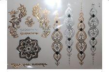 Temporary 3D Designs Glitter Body Gold Silver Metallic Flash Tattoo