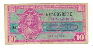 USA 10 cents Military Payment, series 521., USED, see scans.