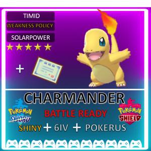 Pokemon Sword & Shield 6IV Shiny Charmander! HA Solar Power! Battle Ready
