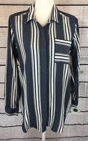 Liz Claiborne Blue White Striped Long Sleeve Button Down Shirt Women's Size M