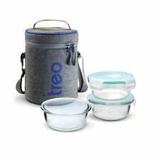 Milton Treo Borosilicate Glass Tiffin Lunch Box With Carry Bag 3 Pcs Oven Safe