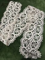 1920s French Lace Crochet Antique Silk Cream Floral Vintage