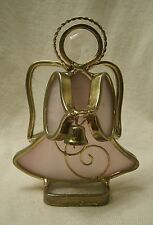 vintage Stained Glass Angel holding Bell Figurine 1980s pink & clear gold metal