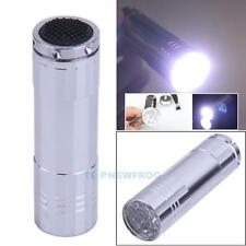 New Silver Mini Flashlight 9 LED Small Hand Torch Light Lamp Silver  3 x AAA