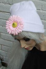 DAISY CHAIN FLOWER WHITE BEANIE HAT INDIE HIPSTER GRUNGE BEENIE HIPPY FESTIVAL