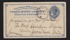 USA 1888 SC #UX6 POSTAL STATIONERY CARD BROOKLYN NEW YORK TO BADEN GERMANY