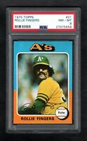 1975 TOPPS #21 ROLLIE FINGERS A'S PSA 8 NM/MT CENTERED!