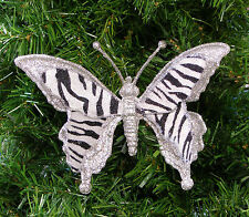 SILVER GLITTERED BUTTERFLY CHRISTMAS ORNAMENT w/ ZEBRA VELVETEEN FABRIC WINGS