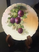 """Vintage PT Bavaria Tirschenreuth 8 3/8"""" Plate with Plums and Flowers"""