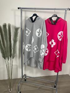 Pink Flower Inspired PU Trim Oversized Top Hoodie Longline 12 14 16 18 20 22 NEW