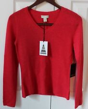 Adrienne Vittadini 100% 2-ply CASHMERE Red V Neck Sweater Sz Small NEW with TAGS