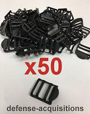 Set of 50 - 1 INCH Tension Lock Buckle Ladderlock Sling Attachment BLK - STEEL
