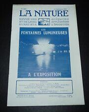 REVUE LA NATURE N°2683 1925 PARAPLUIES / FONTAINES LUMINEUSES / VALLEE D'ARAZAS