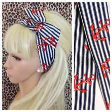 NAVY BLUE STRIPE RED ANCHOR COTTON BENDY WIRE HAIR SCARF HEADBAND NAUTICAL STYLE