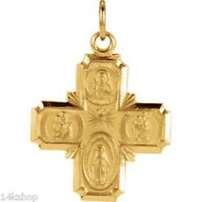 14K Gold Small 4 Four Way Charm Pendant  St Christopher Miraculous Joseph 1.8g