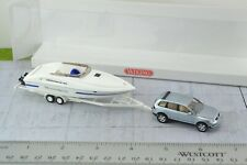 Wiking VW Touareg SUV with Power Boat Trailer 1:87 Scale HO