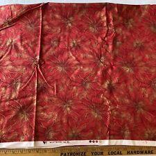 New Fabric : Poinsettia Print By Westwood, 3.5-yd Piece, Metallic
