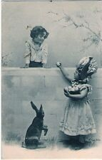 UNDIVIDED BACK Boy & Girl w/basket of eggs & EASTER BUNNY Vintage Postcard
