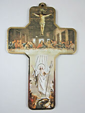 "Risen Christ  / Last Supper Picture Wall Cross on Wood  5"" Made in Italy"