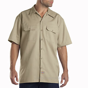 Dickies Work Shirts Men Short Sleeve Button Front Shirt 1574, WS574 Solid Color