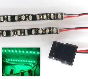 GREEN LED MODDING PC CASE LIGHT (TWIN 20CM STRIPS) MOLEX 40CM TAILS DBL DENSITY