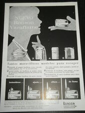 1962 - AD PUBLICITE ANUNCIO - RONSON - CIGARETTE LIGHTER-SPANISH MAGAZINE - 2964