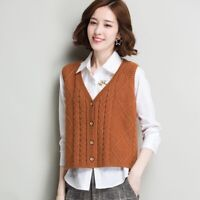 Women Knit Vest Cardigan Gilet Sleeveless Sweater Jumper Top Knitwear Casual New