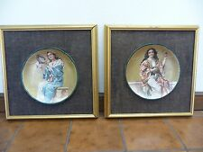 PAIR HAND EMBELLISHED ORIENTALIST/MIDDLE EASTERN STYLE GYPSY WOMEN FRAMED PLATES