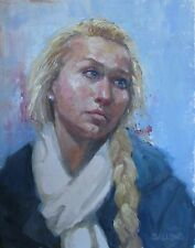 Fine Art Original Oil Painting 11x14 German Girl on Train Impressionism