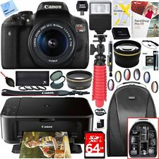 Canon EOS Rebel T6i DSLR Camera w/ EF-S 18-55mm Lens +PIXMA Printer Bundle