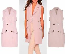 UK Women Sleeveless Vest Collared Waistcoat Gilet Shrug Jacket Coat Outwear