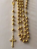 "Men Large Rosary Beads Necklace 30"" 14k Gold Over Solid 925 Silver Rosario ITALY"