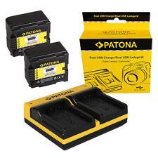 2x Batteria Patona + caricabatteria USB dual per Panasonic Lumix DMC-L10