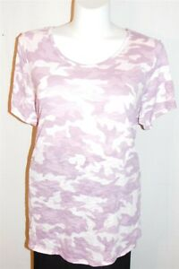 22/24 Lane Bryant Women Plus Size Pink Purple Camo Short Sleeve Knit Top EUC