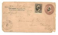 Antique 1884 Early Postal Cover New London Scott # 187 U281 Brown / Fawn