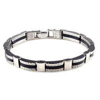 Unisex's Silver Black Stainless Steel Rubber Men Cuff Bangle Bracelet Wristband