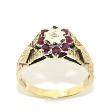 Ladies womens 9ct 9carat yellow gold diamond & garnet engagement ring size Q