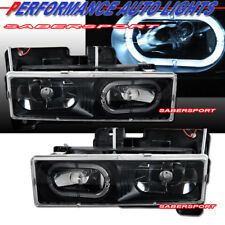 Set of Euro Black Headlights w/ Halo rim for 1988-1999 GMC Chevy C/K Full Size