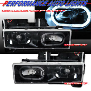 Set of Euro Black Headlights w/ Halo rim for 1988-1999 GMC Chevy C/K Full Size