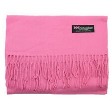 Men's 100% CASHMERE Warm PLAIN Scarf pure solid Pink Wool MADE IN SCOTLAND