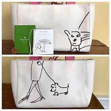 Kate Spade Maira Kalman Dog Tote Purse Bag Ivory Canvas & Pink